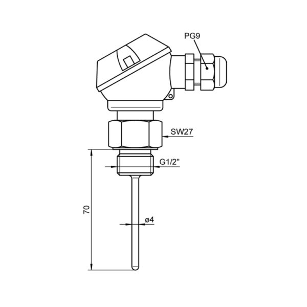 Insertable Sensor Pt100 with Terminal Head – FP 0463