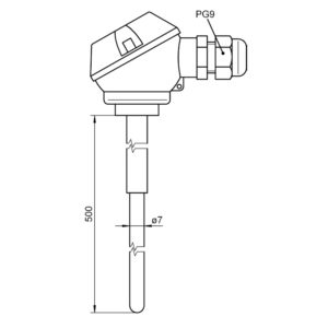 Insertable sensor PtRh-Pt (S) with terminal head FT 0425